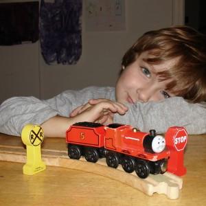 Boy with train