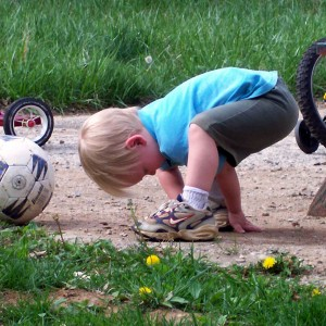 Toddler in dirt